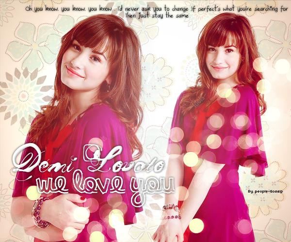 """We Support Demetria Devonne Lovato ......................................................................................................................................................................................................................................................................................................Comme vous le savez (ou pas ;D) Demi Lovato est actuellement en centre pour soigner ses problèmes """" Émotionnelles et Physiques """" . Mais si j'écris cet article ce n'est pas pour m'attarder sur ce sujet , mais plutôt pour tirer un """" coup de gueule """" envers certaines personnes . Demi traverse une période difficile , donc , tout ce dont elle a besoin , c'est juste d'un peu de soutien . Malheureusement les médias ne semblent pas avoir compris cela , vu qu'ils s'amusent à détruire notre pauvre Demi avec leurs rumeurs et leurs scandales . La jeune starlette , censée être fragile en ce moment , risque de ne pas supporter toute cette pression  une fois qu'elle sera sortit de cure . Et c'est sa qui m'inquiète vraiment . Récemment plusieurs photos de Demi ont fait le buzz sur internet . Je pense que vous voyez de quoi je veux parlez . Ces photos font un vrai scandale , et , certains iront même jusqu'à dire qu'elles vont ruiner la carrière de la jeune chanteuse ....et cela a tendance à m'énerver . Demi à 18 ans , c'est une adulte , je pense qu'elle est assez grande pour prendre ses décisions toute seule et contrôler sa vie . Même si ces photos ont sûrement choqué quelques jeunes fan de l'artiste , elles représentent juste une bande de jeunes amies en train de s'amuser .De plus , ces photos sont privées , elle n'aurait jamais dû se retrouver sur internet .C'est dommage que certaines personnes ne la juge seulement que par rapport à sa . Pour moi , Demi est une artiste formidable et une grande musicienne . Une personne proche de ses fans et souriante qui , comme tout le monde le fait un jour , traverse une période confuse de sa vie .Aussi , je la soutient de"""