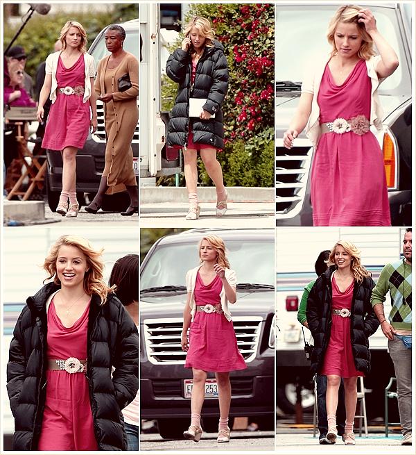 _• ☼ •_  Quinn avec sa magnifique robe sur le tournage de « Funeral », le 12/04/11 avec Cory et Lea.  Le cast tourner l'épisode 2x21. Il semblerait qu'un personnage important meurt à l'issue de cet épisode. Who ?  ▬▬ ▬▬ ▬▬ ▬▬ ▬▬ ▬▬ ▬▬ ▬▬ ▬▬ ▬▬ ▬▬  ▬▬ ▬▬ ▬▬ ▬▬ ▬▬ ▬▬ ▬▬ ▬▬ ▬▬ ▬▬ ▬▬ ▬▬ ▬▬