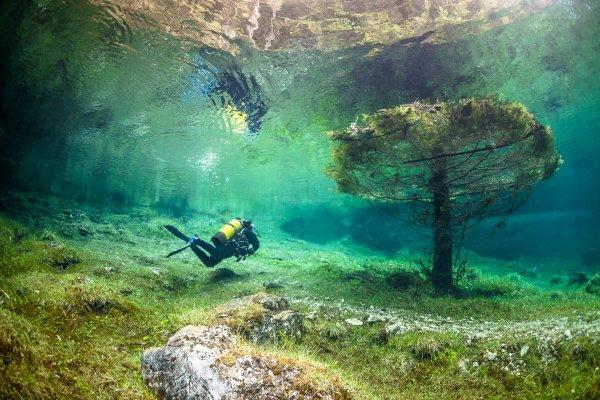 Un lac cristallin engloutit un parc naturel