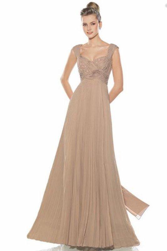 Attrayante robe de soirée Longueur ras du sol A-ligne en Mousseline Col en c½ur
