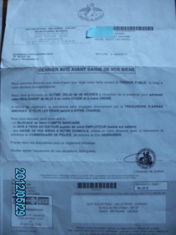pv impayé 2 le retoure ce document ma été envoyé le 08 02 2012
