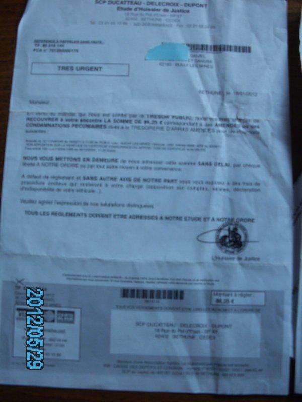pv impayé ce document ma été envoyé le18 01 2012