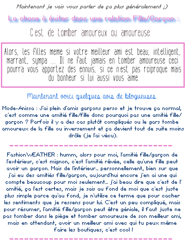 Amitié Fille/Garçon.