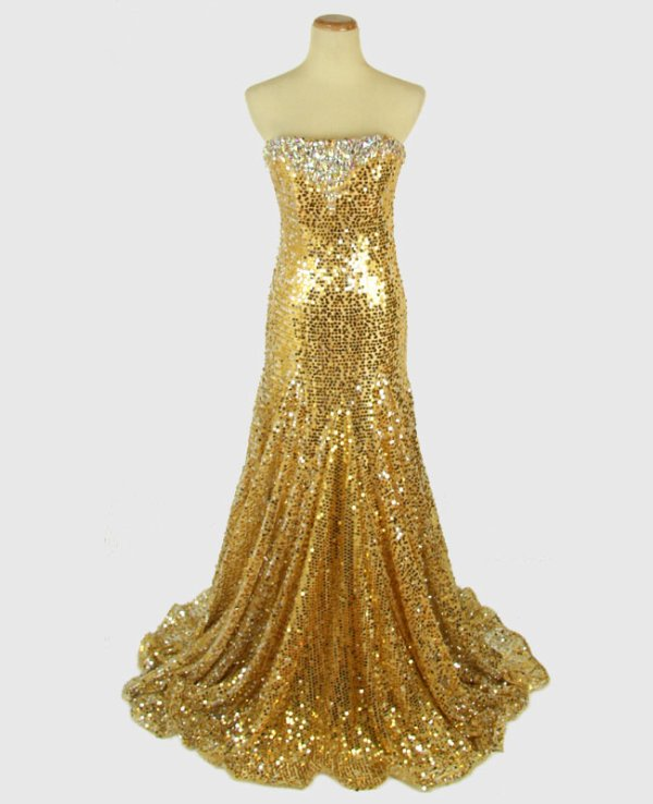 Magnifique robe or TONY BOWLS taille 36/38