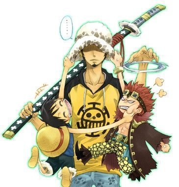 Law, Kidd et Luffy