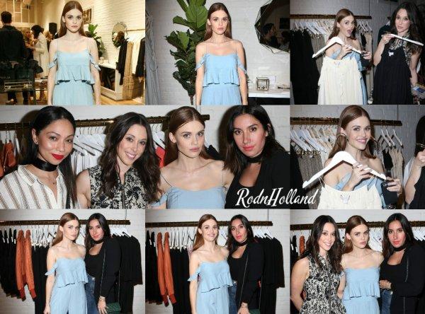 23.02.16 - La même journée, H. était au Rachel Zoe's Pop-Up Store, à Hollywood.     Pour l'occasion, Holland avait changé de tenue et avait opté pour une robe bleue, très belle. Vos avis ?
