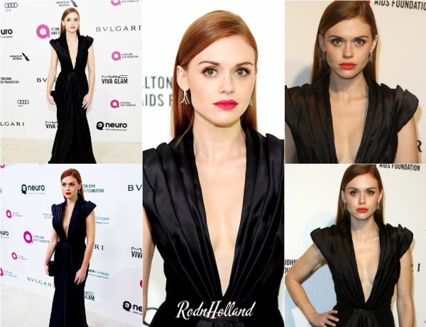 28.02.16 - L'actrice Holland Roden était présente au 24th Annual Elton John AIDS Foundations's Oscar, a West Hollywood.     Holland était vêtue d'une robe noir, totalement magnifique ! Je lui accorde un grand Top. Et vous ?