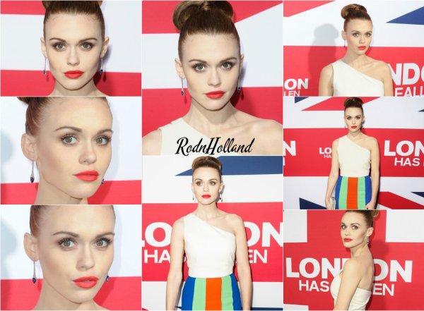 01.03.16 - Holland était présente a l'avant première de London Has Fallen, au ArcLight Cinemas, a Hollywood.     H. s'est présenté dans une robe qui lui allait très bien. Elle portait, encore une fois, un chignon. Je lui accorde un très grand Top !
