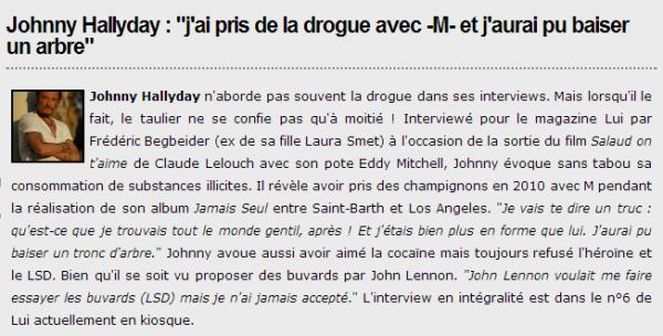 "Johnny j ai pris de la drogue avec ""M"""