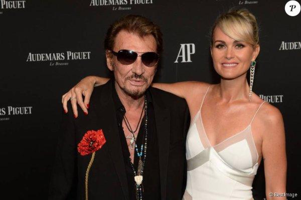 Exclusif - Johnny Hallyday et sa femme Laeticia Hallyday - La maison Audemars Piguet a célébré le lancement de la nouvelle Millenary Femme au Carreau du Temple à Paris le 6 juillet 2015 .
