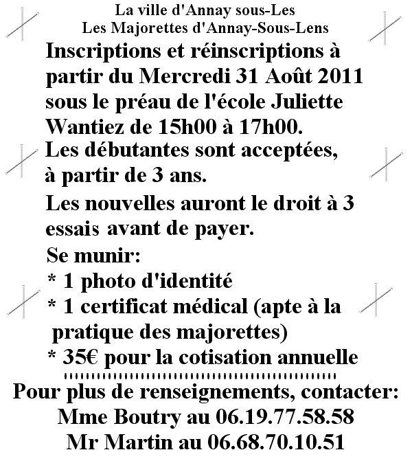 RÉINSCRIPTIONS ET INSCRIPTIONS POUR LA SAISON 2011-2012