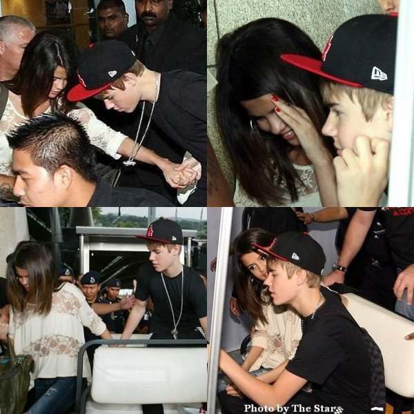 """20 avril: Justin et Selena arrive à l'aéroport """"KLIA"""" en Malaisie (sud de l'Asie) !!"""