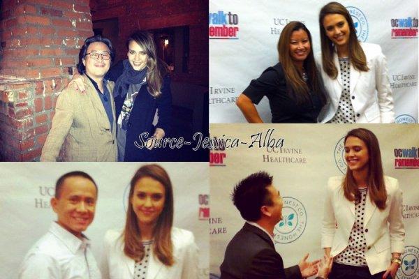 """Mercredi 23 Mai  2012 : Jessica est allée à la conférence OCWalk to remember . Le soir , Jessica & Cash sortant du restaurant """" Lucques """""""