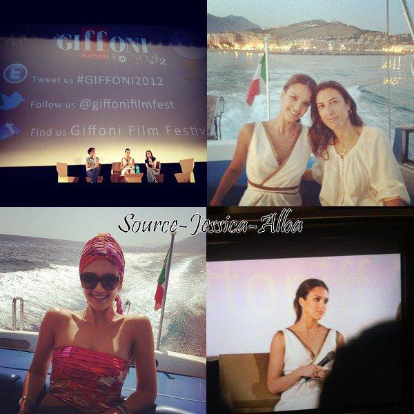 Samedi 14 Juillet 2012 : Jessica arrivant au Festival Giffoni (ce festival concerne les films de jeunesse). Ensuite elle a fait un photocall au Festival.