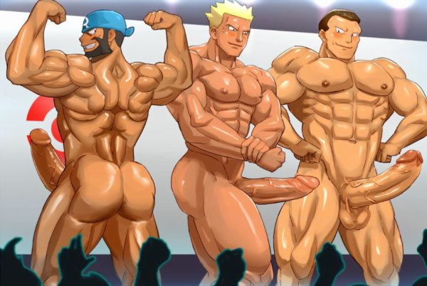 Version hard d'Arthur, Major Bob et Giovanni en concours de muscles ! :p