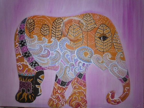 Eléphant peinture à l'huile 80cmx1m