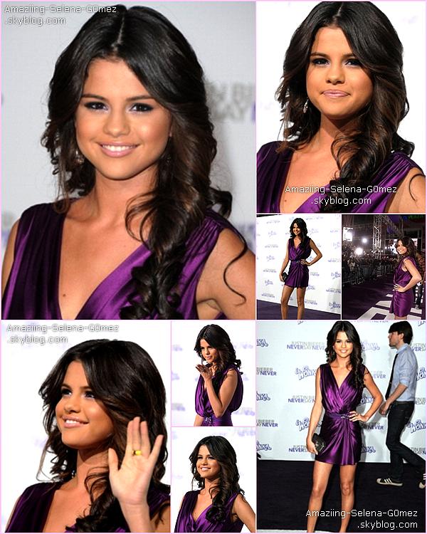 """Mardi 8 Février : Selena à L'Avant Première de """"Never say Never"""" Le Film de Son Petit Ami Justin Bieber à Los Angeles."""