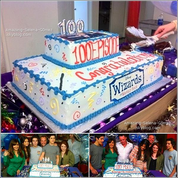 Le Cast des Sorciers de Waverly Place Fête le 100 ème épisode de la Série sur le Set.