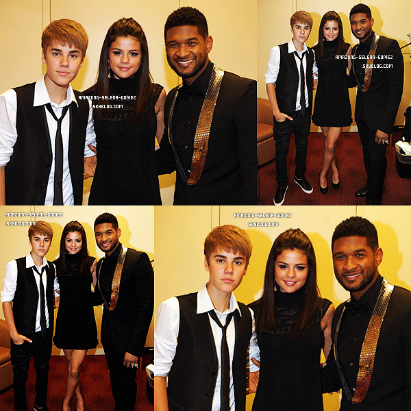 "Samedi 17 Septembre : Selena et Justin Posant avec Usher au ""Georgia Music Hall of Fame Awards 2011"" à Atlanta."