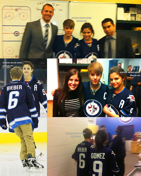 Samedi 22 octobre : Selena et Justin Assistant au Match de Hockey sur Glace des Jets de Winnipeg au Canada.