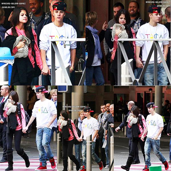 """Samedi 12 Novembre : Selena et Justin Quittant la Radio """"KISS FM"""" à Londres en Angleterre."""