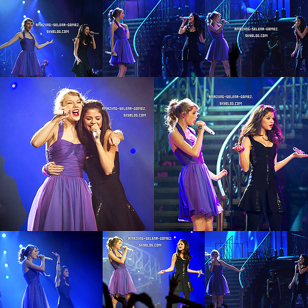 "Mardi 22 Novembre : Selena et Taylor Swift Chantant ""Who Says"" Lors du Concert de Celle-ci au Madison Square Garden à New York."