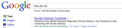 """Le """"trou du cul"""" de Sarkozy de retour sur Google grâce à ses équipes de communication ?"""