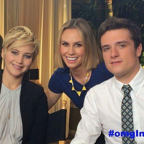 """Photos de Josh et Jen avec la journaliste de """"Omglnsider""""."""