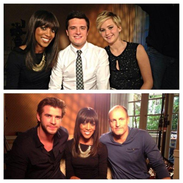 """Le cast de """"Catching Fire"""" pour """"Access Hollywood""""."""