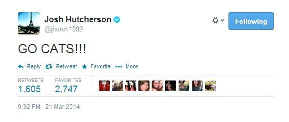 Nouveau Tweet de Josh.