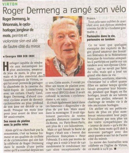 Décès de Mr.Roger Dermeng du RVCG-Virton ce 2 décembre 2017...