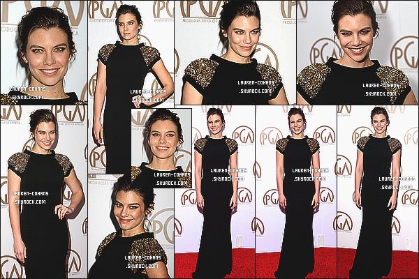 26/01/15: Notre sublime Lauren Cohan était présente à la cérémonie des Producers Guild Awards, à Los Angeles. Je la trouve tout simplement parfaite! Comme à son habitude sa tenue très bien choisie pour l'occasion! Tu lui donne un top ou un flop?