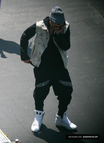 Justin sur le tournage d'un clip video à L.A.
