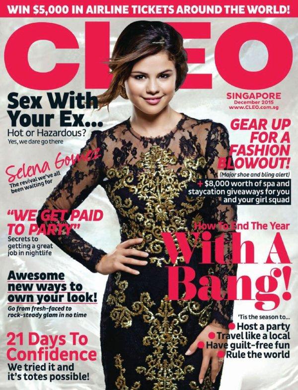 selena fait la courverture cleo magazine pour le mois decembre 2015