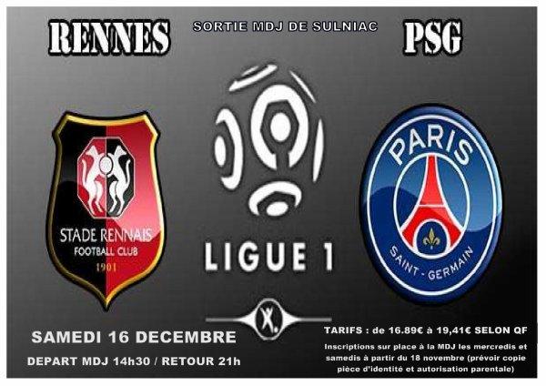 Sortie Stade Rennais / PSG, ce sera finalement le samedi 16 décembre!!!