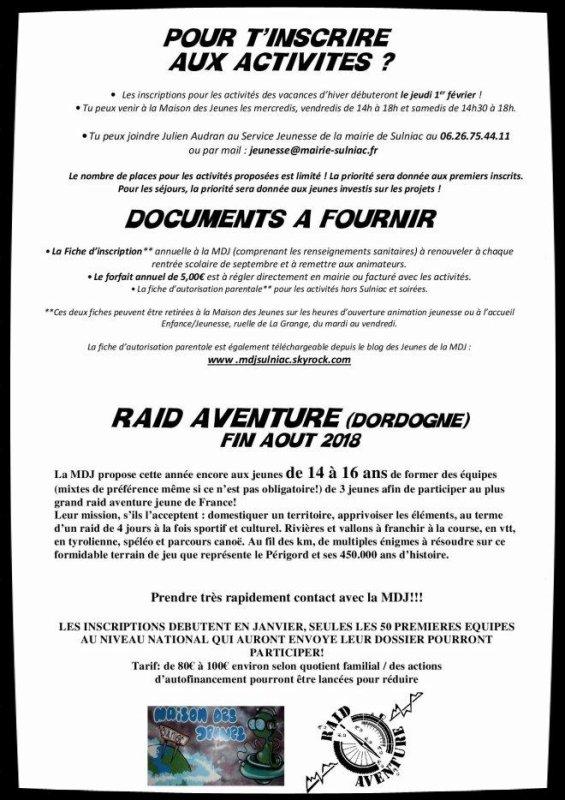 LE PROGRAMME DES VACANCES D'HIVER 2018!!