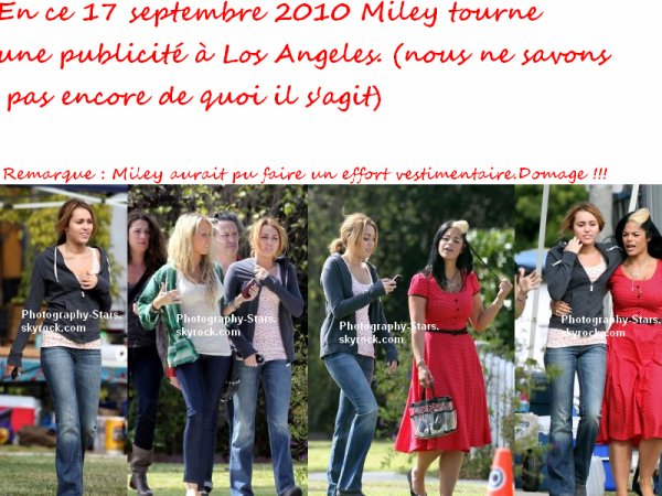 Le 17 septembre 2010 :  Miley tourne un pub à Los Angeles
