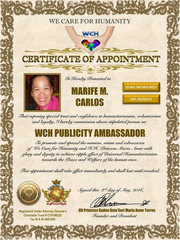 Humanitarian Ambassador Lady Marife  a.k.a Blog de Pinkrose (de Pinkrose-mc)