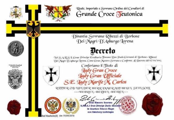 TEUTONIC ORDER - DEUTCHER ORDEN: RITTER Lady Grand Official Dame Grand Cross