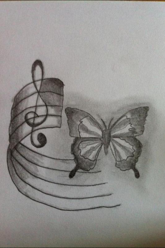 Papillon et note de musique