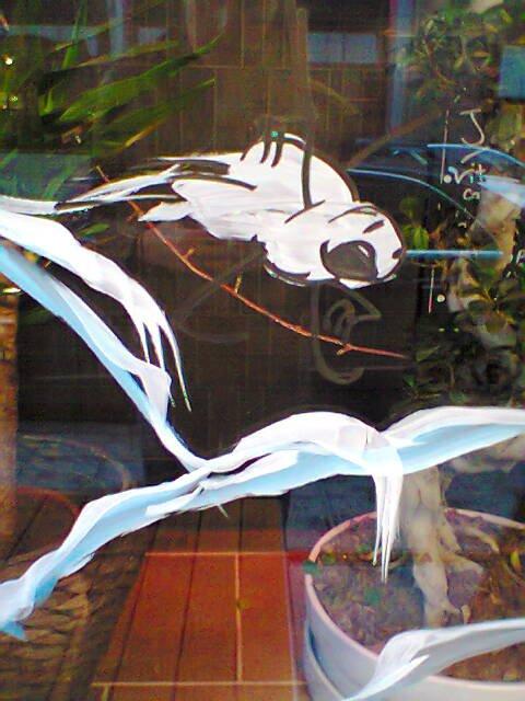 Décoration de vitrine près de la station Stéphanie