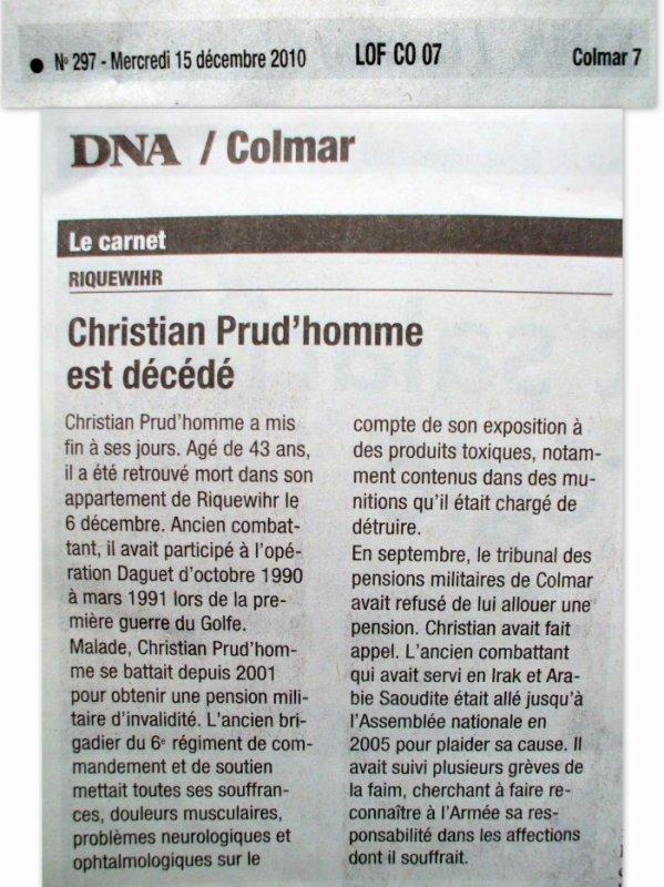 CHRISTIAN PRUD'HOMME MON FRÈRE ATTEINT PAR LES SYNDROMES LIÉS À LA GUERRE DU GOLFE (1990/1991) IL FAUT OBTENIR RÉPARATION.....