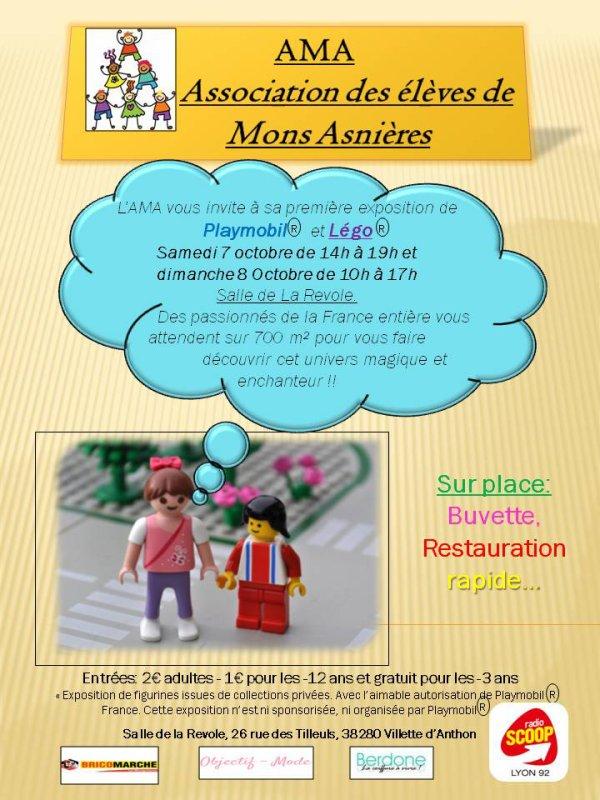 Exposition Playmobil les 7 et 8 octobre à Villette d'Anthon pour plus d'infos voir ci contre les affiches !!!