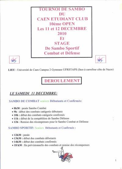 1) 10ème Open de Sambo du Caen Etudiants Club Sambo les 11 et 12 décembre 2010