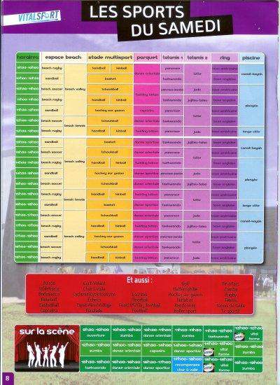 Programme VITALSPORT samedi 10 septembre 2011