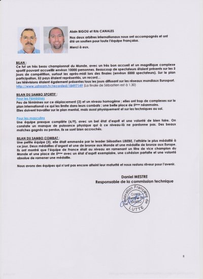 Info Comité Nationale de Sambo/FFL suite