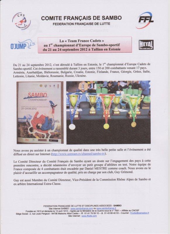 Info Comité Français de Sambo