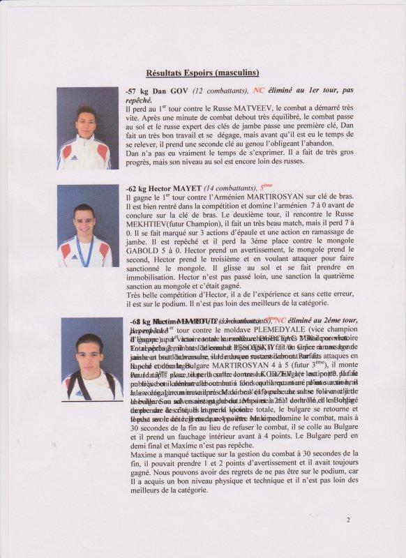 Championnat du Monde Juniors et Espoirs de Sambo Sportif du 11 au 15 octobre 2012 à Sofia (Bulgarie)