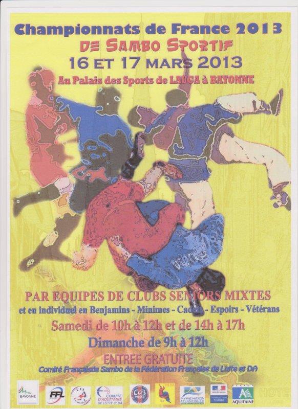 Championnat de France de Sambo Sportif par Equipes de Clubs et en Individuel à BAYONNE le 16 et 17 Mars 2013