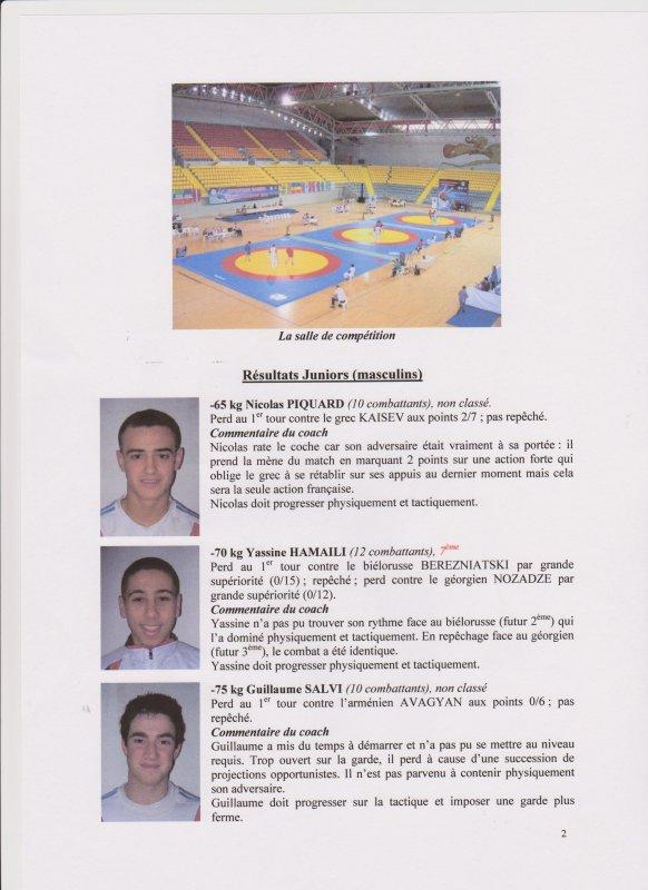 Championnat d'Europe Juniors et Espoirs de Sambo Sportif du 11 au 15 Avril 2013 à Limassol (Chypre)
